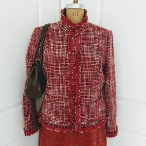 Mac & Jac Red Tweed Boucle Blazer Size 16
